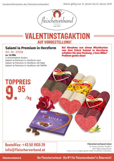 Valentinaktion Salami in Herzform
